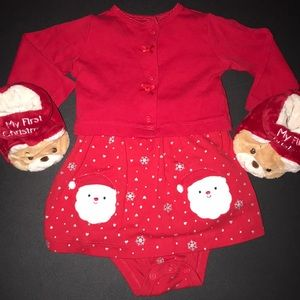 My 1st Christmas Matching Set Onesie Slippers Red